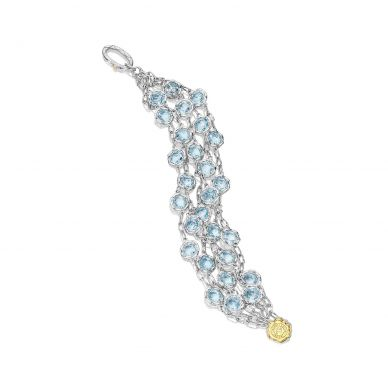 SB100Y02 Island Rains Silver Sky Blue Topaz Statement Bracelet for Women