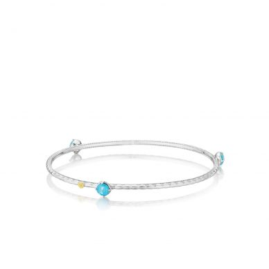 SB12105 Island Rains Silver Neolite Turquoise Stackable Bangle Bracelet for Women