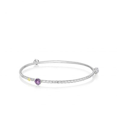 SB121130126 Lilac Blossoms Silver Amethyst and Chalcedony Stackable Bangle Bracelet for Women