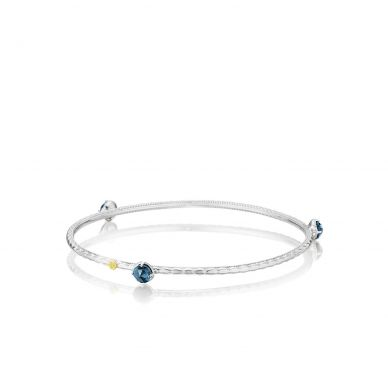 SB12133 Island Rains Silver London Blue Topaz Stackable Bangle Bracelet for Women