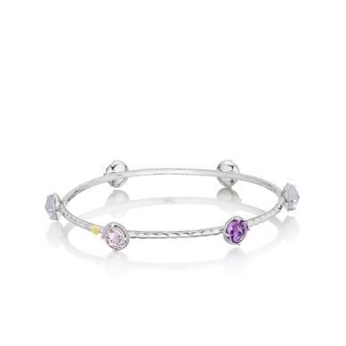 SB124130126 Lilac Blossoms Silver Amethyst and Chalcedony Stackable Bangle Bracelet for Women