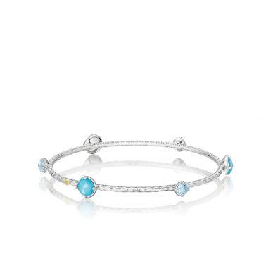 SB1320502 Island Rains Silver Neolite Turquoise and Sky Blue Topaz Stackable Bangle Bracelet for Women