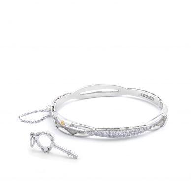 SB192 Promise Silver Diamond Locking Bangle Bracelet for Women for Women