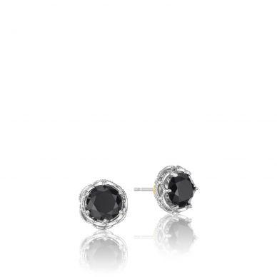 SE10519 Classic Rock Silver Black Onyx Stud Earrings for Women