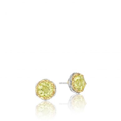 SE105Y07 Color Medley Silver and Yellow Gold Lemon Quartz Stud Earrings for Women