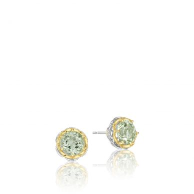 SE105Y12 Color Medley Silver and Yellow Gold Prasiolite Stud Earrings for Women