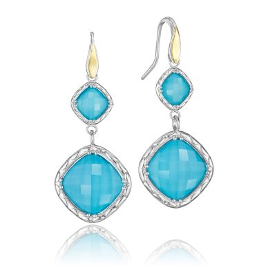 SE118Y05 Island Rains Silver and Yellow Gold Neolite Turquoise Dangle Earrings for Women