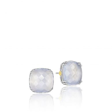 SE12926 Classic Rock Silver Quartz Over Chalcedony Stud Earrings for Women