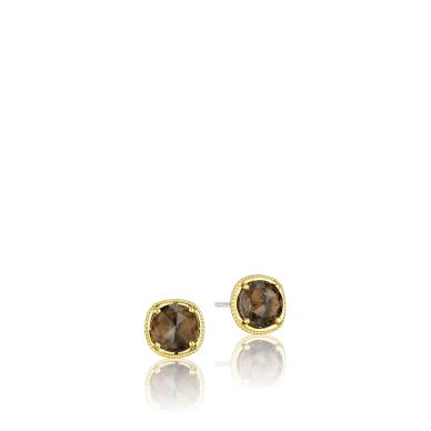 SE154Y17 Midnight Sun Silver and Yellow Gold Smokey Quartz Stud Earrings for Women