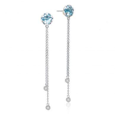 SE21202 Sonoma Skies Silver Sky Blue Topaz and Diamond Dangle Earrings for Women