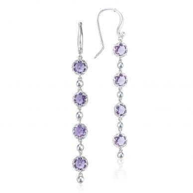 SE21401 Sonoma Skies Silver Amethyst Long Earrings for Women