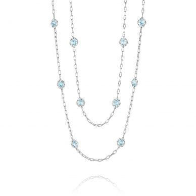 SN10802 Island Rains Silver Sky Blue Topaz Long Necklace for Women