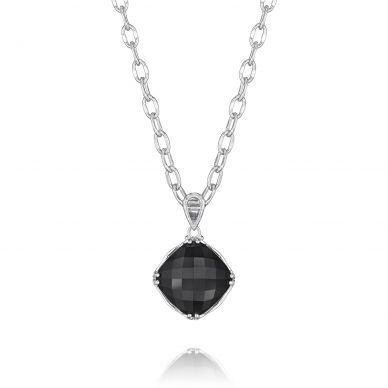 SN12819 Classic Rock Silver Black Onyx Pendant Necklace for Women