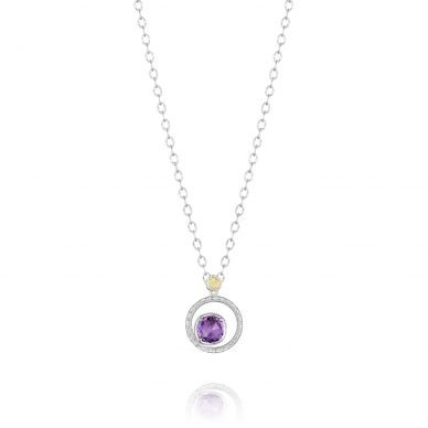 SN14001 Lilac Blossoms Silver Amethyst Pendant Necklace for Women