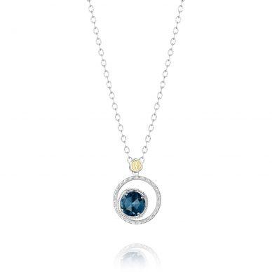 SN14133 Island Rains Silver London Blue Topaz Pendant Necklace for Women