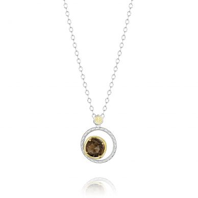 SN141Y17 Midnight Sun Silver and Yellow Gold Smokey Quartz Pendant Necklace for Women