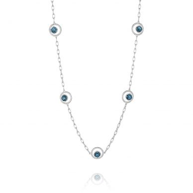 SN14833 Island Rains Silver London Blue Topaz Long Necklace for Women