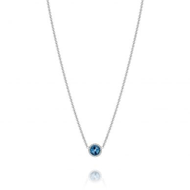 SN15433 Island Rains Silver London Blue Topaz Delicate Solitaire Necklace for Women