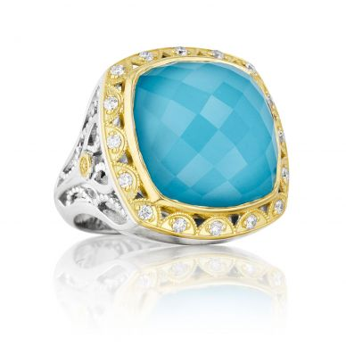 SR101Y05 Island Rains Silver and Yellow Gold Neolite Turquoise and Diamond Statement Ring for Women