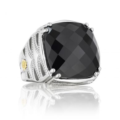 SR13119 Classic Rock Silver Black Onyx Statement Ring for Women