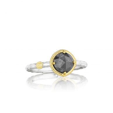 SR134Y32 Midnight Sun Silver and Yellow Gold Hematite Stackable Ring for Women
