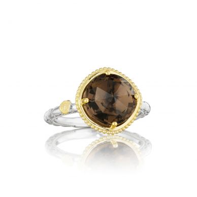 SR135Y17 Midnight Sun Silver and Yellow Gold Smokey Quartz Simple Ring for Women