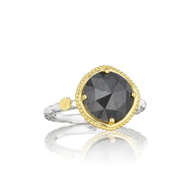 SR135Y32 Midnight Sun Silver and Yellow Gold Hematite Simple Ring for Women