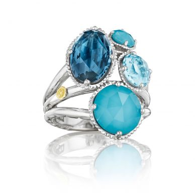 SR143050233 Island Rains Silver Neolite Turquoise and Blue Topaz Statement Ring for Women