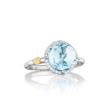 SR14502 Island Rains Silver Sky Blue Topaz and Diamond Simple Ring for Women