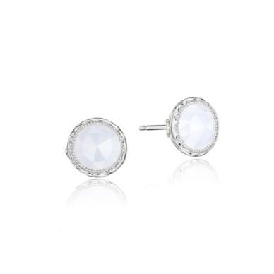 SE24103 Petite Bezel Chalcedony Stud Earrings