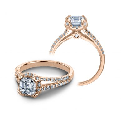 Verragio Couture 0378-R Rose Gold Asscher Engagement Ring
