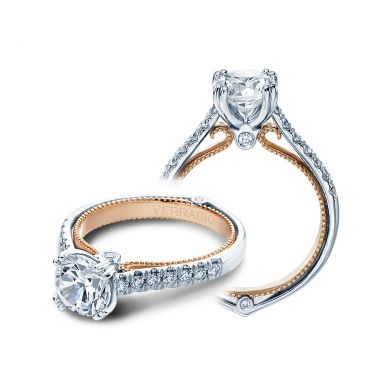 Verragio Couture 0412-TT White and Rose Gold Round Engagement Ring