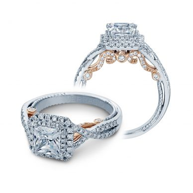 Verragio Insignia 7084P-TT White and Rose Gold Princess Engagement Ring