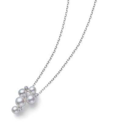 4.75-5.25mm A+ Akoya Pearls and Diamonds Pendant 0.05 cts White Gold 18K MPQ10041ADXW