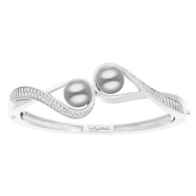Belle Etoile Liliana Gray Shell Pearl and Cubic Zirconia Sterling Silver Bangle 07-03-16-2-01-02