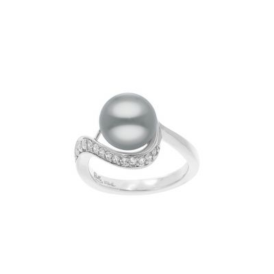 Belle Etoile Liliana Gray Shell Pearl and Cubic Zirconia Sterling Silver Ring 01-03-16-2-01-02