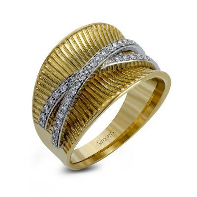 Simon G. LP2103 Yellow and White Gold Vintage Diamond Ring for Women