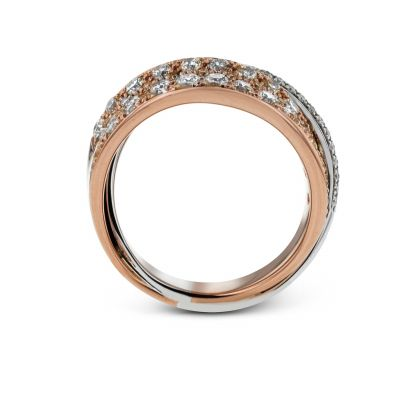 LP2321 White and Rose Gold Diamond Statement Ring
