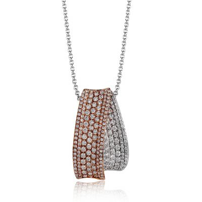 Simon G. MP1749 White and Rose Gold Diamond Statement Pendant Necklace for Women