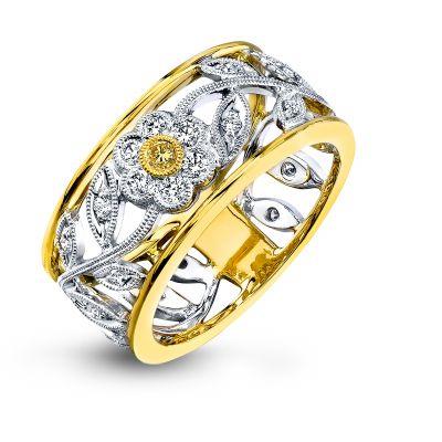Simon G. MR1000 White and Yellow Gold Diamond Flower Ring for Women Angle