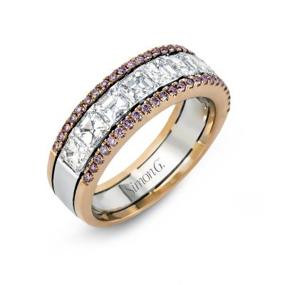 Simon G. MR2338 White and Rose Gold Multi-Row-Pink-Diamond Ring for Women Angle