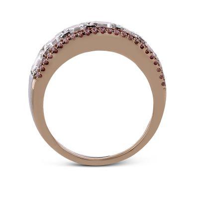 Simon G. MR2338 White and Rose Gold Multi-Row-Pink-Diamond Ring for Women Side