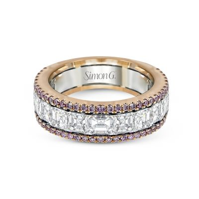 Simon G. MR2338 White and Rose Gold Multi-Row-Pink-Diamond Ring for Women