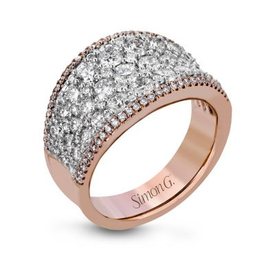 Simon G. MR2619 White and Rose Gold Multi-Row Diamond Statement Ring for Women Angle