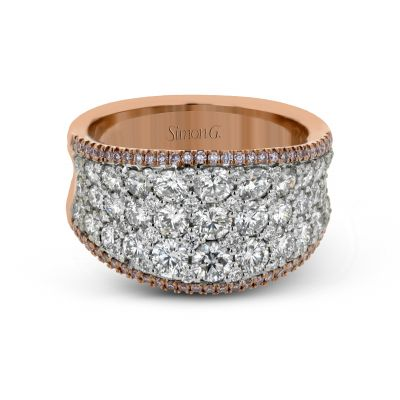 Simon G. MR2619 White and Rose Gold Multi-Row Diamond Statement Ring for Women