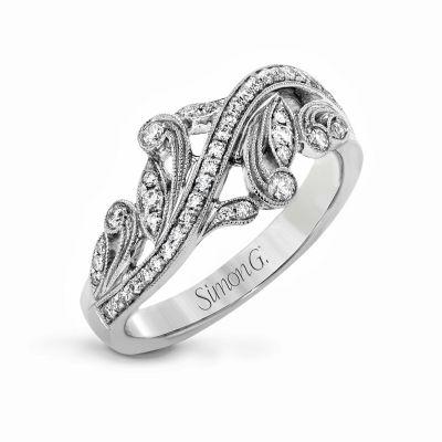 Simon G. TR645 White Gold Unique Diamond Ring for Women Angle