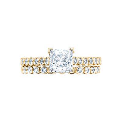 Tacori 200-2PR55Y Yellow Gold Princess Cut Art Deco Engagement Ring set