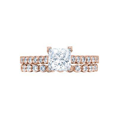 Tacori 200-2PR5PK Rose Gold Princess Cut Simple Classic Engagement Ring set