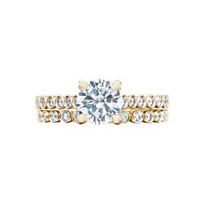 Tacori 200-2RD65-Y Yellow Gold Round Art Deco Engagement Ring set