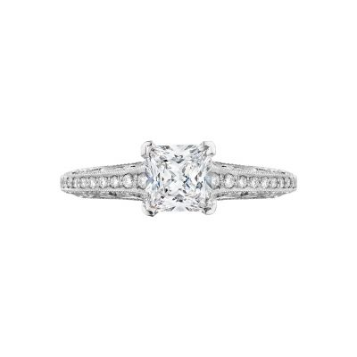Tacori 201-2PR Sculpted Crescent White Gold Princess Cut Engagement Ring